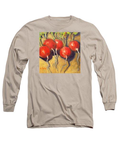 Organic Radishes Still Life Long Sleeve T-Shirt by Mary Hubley