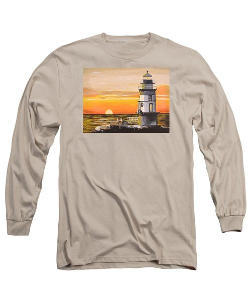 Long Sleeve T-Shirt featuring the painting Orient Point Lighthouse by Donna Blossom