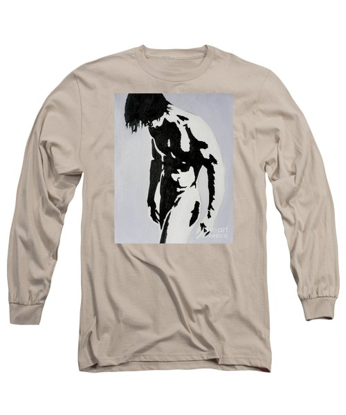 Original Black An White Acrylic Paint Man Gay Art -male Nude#16-2-4-17 Long Sleeve T-Shirt