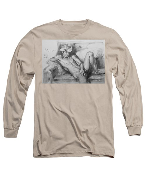 Original Drawing Sketch Charcoal Chalk Male Nude Gay Man On Sofa Art Pencil On Paper By Hongtao Long Sleeve T-Shirt