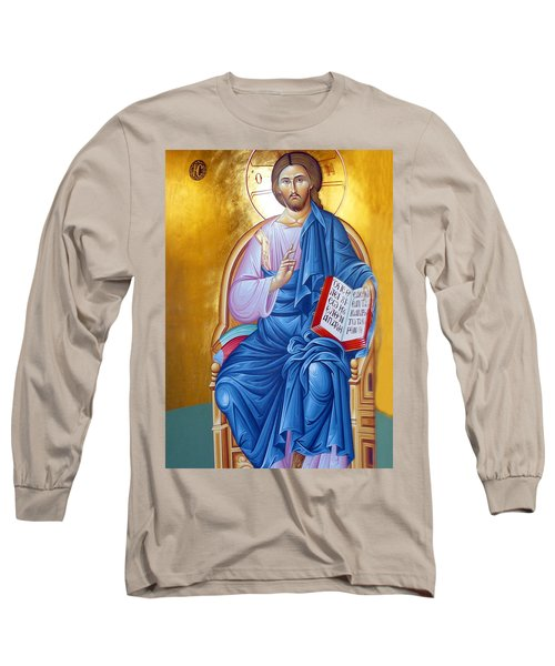 Orthodox Icon Of Jesus In Blue Long Sleeve T-Shirt by Munir Alawi
