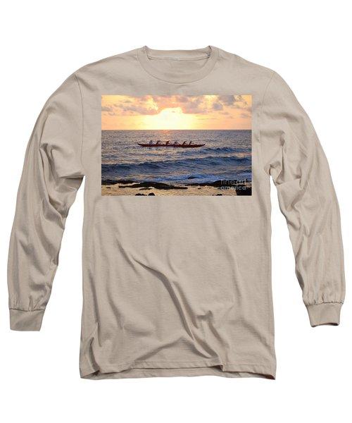 Outrigger Canoe At Sunset In Kailua Kona Long Sleeve T-Shirt by Catherine Sherman