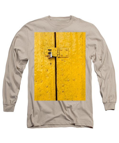 Padlock On An Old Yellow Door Long Sleeve T-Shirt