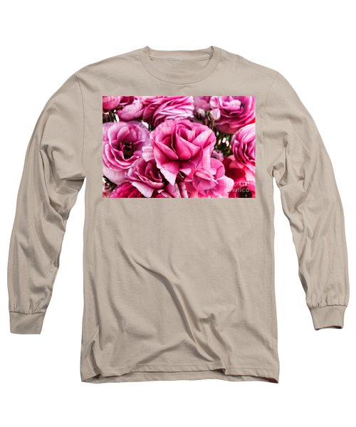 Paint Me Pink Ranunculus Flowers By Diana Sainz Long Sleeve T-Shirt