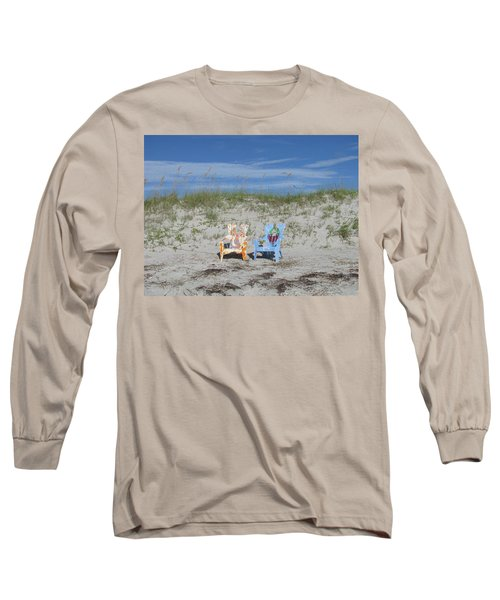 Painted Beach Chairs Long Sleeve T-Shirt by Ellen Meakin
