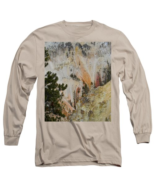 Long Sleeve T-Shirt featuring the photograph Painted Canyon At Lower Falls by Michele Myers