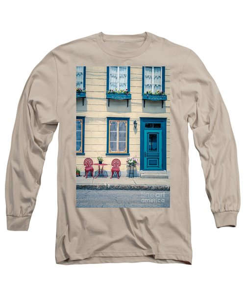 Painted Townhouse In Old Quebec City Long Sleeve T-Shirt