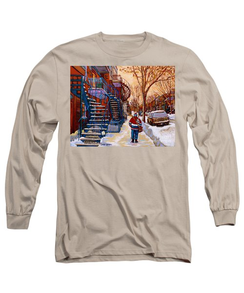 Paintings Of Montreal Beautiful Staircases In Winter Walking Home After The Game By Carole Spandau Long Sleeve T-Shirt