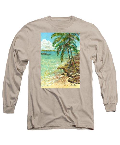 Palms On Point Of Rocks Long Sleeve T-Shirt by Lou Ann Bagnall
