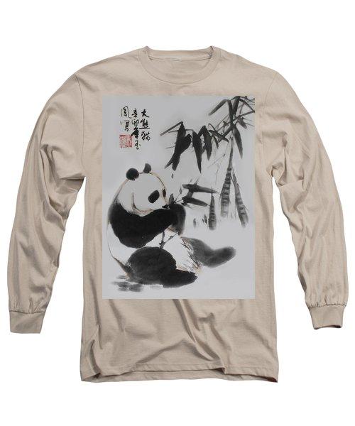 Long Sleeve T-Shirt featuring the photograph Panda And Bamboo by Yufeng Wang