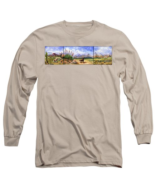 Panorama Triptych Don't Fence Me In  Long Sleeve T-Shirt by Marilyn Smith
