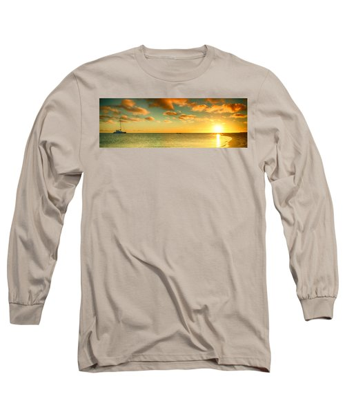 Panoramic Photo Sunrise At Monky Mia Long Sleeve T-Shirt by Yew Kwang