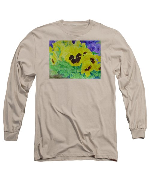 Pansies Colorful Flowers Floral Garden Art Painting Bright Yellow Pansy Original  Long Sleeve T-Shirt by Elizabeth Sawyer