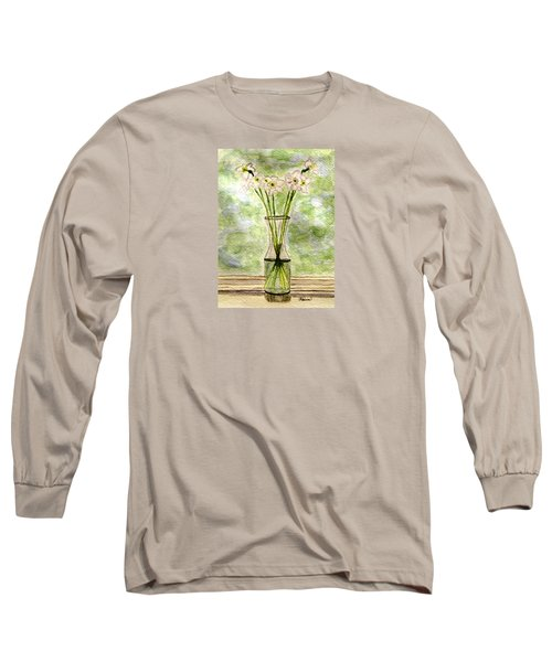 Long Sleeve T-Shirt featuring the painting Paper Whites In Sunlight by Angela Davies