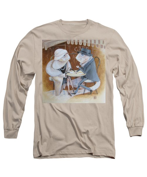 Long Sleeve T-Shirt featuring the painting Paris Cafe by Marina Gnetetsky