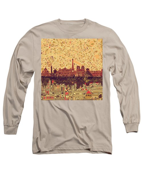 Paris Skyline Abstract Sepia Long Sleeve T-Shirt