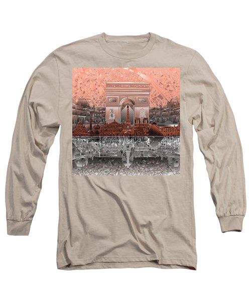 Paris Skyline Landmarks 2 Long Sleeve T-Shirt