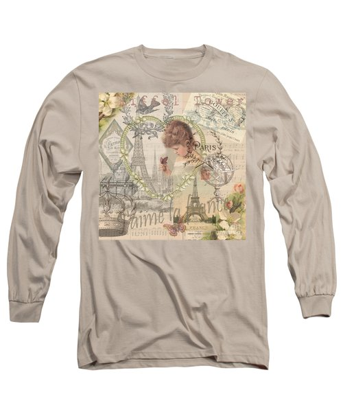 Paris Vintage Collage With Child Long Sleeve T-Shirt