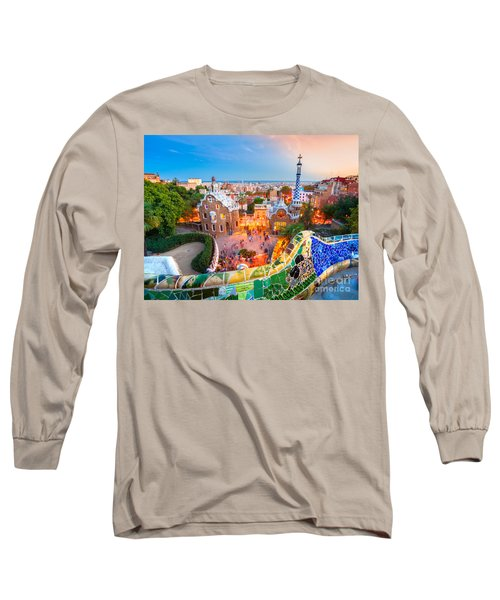 Park Guell In Barcelona - Spain Long Sleeve T-Shirt by Luciano Mortula