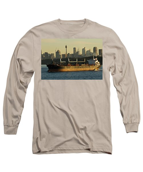 Long Sleeve T-Shirt featuring the photograph Passing Sydney In The Sunset by Miroslava Jurcik
