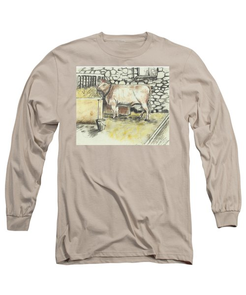 Cow In A Barn Long Sleeve T-Shirt by Francine Heykoop