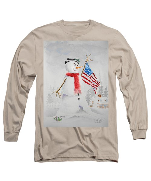Patriotic Snowman Long Sleeve T-Shirt