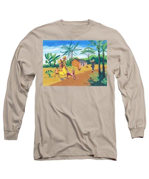 Long Sleeve T-Shirt featuring the painting Paysage Du Sud Du Cameroon by Emmanuel Baliyanga