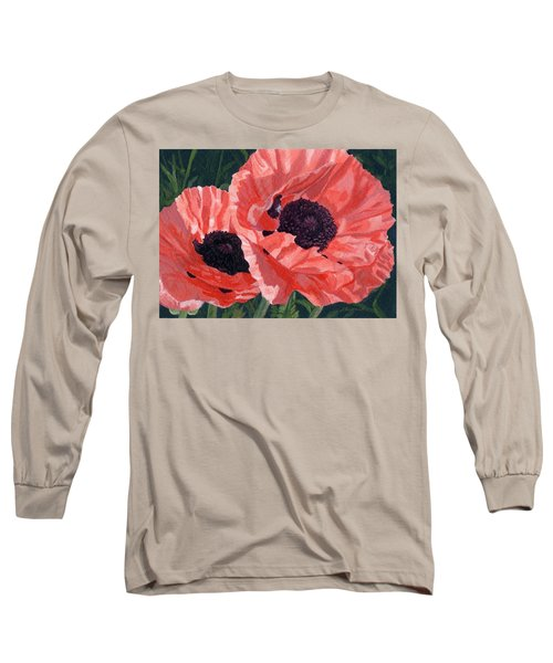 Long Sleeve T-Shirt featuring the painting Peachy Poppies by Lynne Reichhart