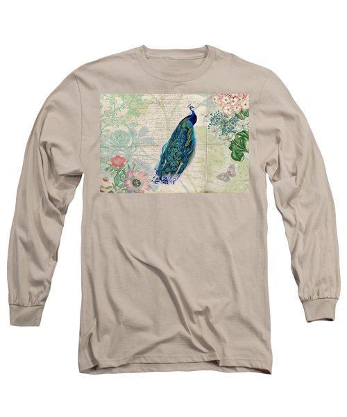 Peacock And Botanical Art Long Sleeve T-Shirt by Peggy Collins