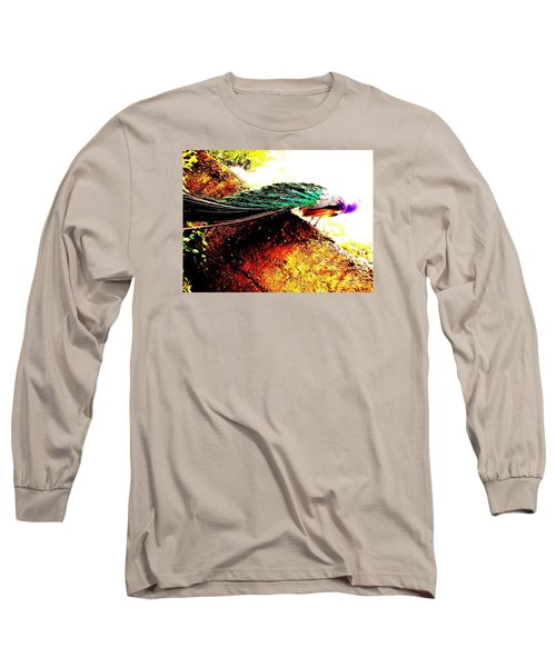 Long Sleeve T-Shirt featuring the photograph Peacock Tail by Vanessa Palomino