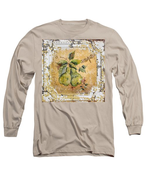 Pears And Dragonfly On Vintage Tin Long Sleeve T-Shirt by Jean Plout