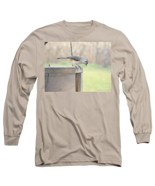 Peeking Chickadee Long Sleeve T-Shirt