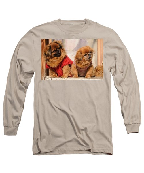 Long Sleeve T-Shirt featuring the photograph Pekingese Pair by Jeremy Voisey