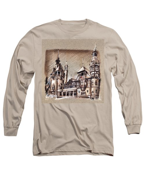 Peles Castle Romania Drawing Long Sleeve T-Shirt