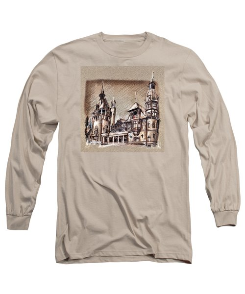 Peles Castle Romania Drawing Long Sleeve T-Shirt