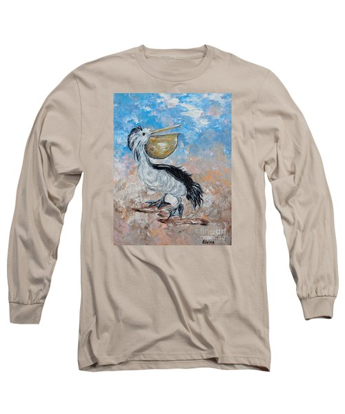 Long Sleeve T-Shirt featuring the painting Pelican Beach Walk - Impressionist by Eloise Schneider