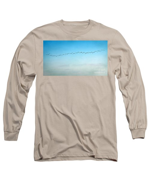 Pelican Flight Line Long Sleeve T-Shirt by Peggy Hughes
