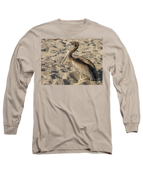 Pelican On Beach Long Sleeve T-Shirt by DejaVu Designs