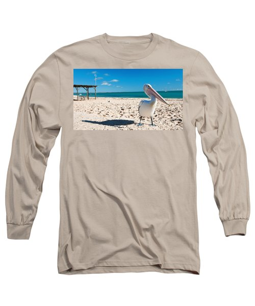 Pelican Under Blue Sky Long Sleeve T-Shirt by Yew Kwang
