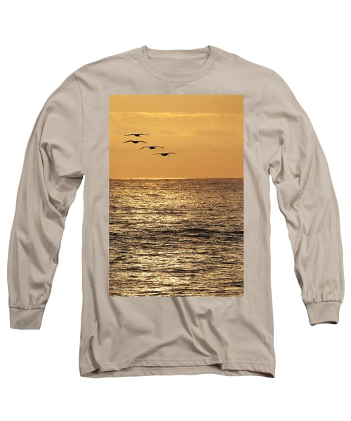 Pelicans Ocean And Sunsetting Long Sleeve T-Shirt by Tom Janca