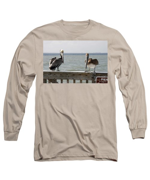 Pelicans On The Pier At Fort Myers Beach In Florida Long Sleeve T-Shirt