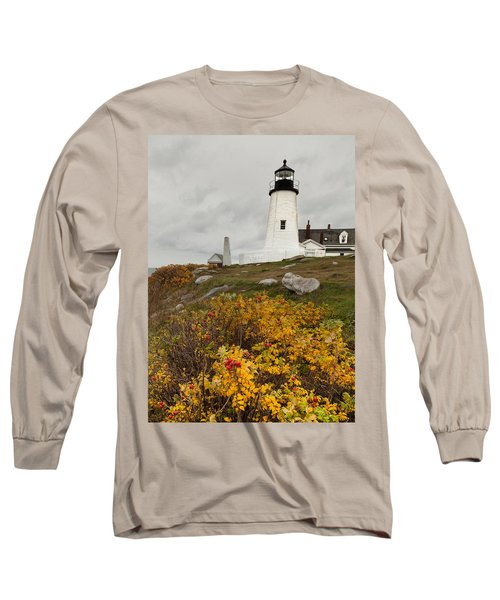 Pemaquid Point Lighthouse And Sea Roses Long Sleeve T-Shirt