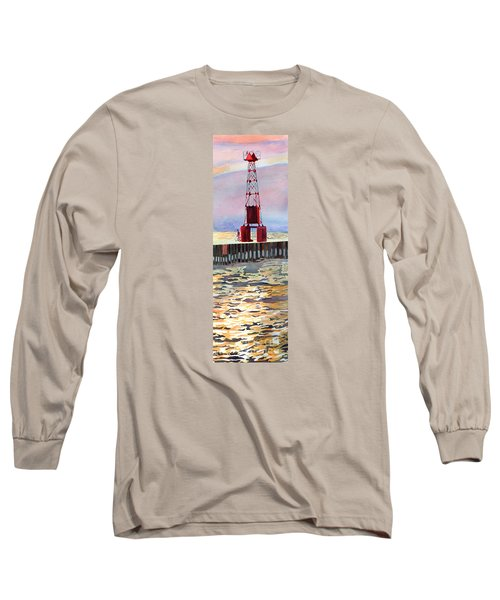 Pentwater South Pier Long Sleeve T-Shirt by LeAnne Sowa