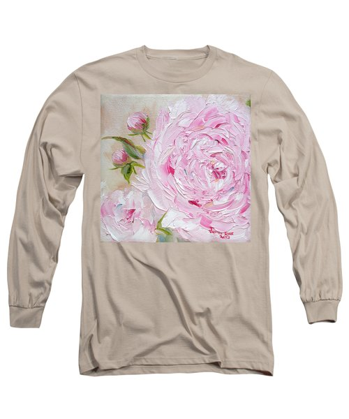 Long Sleeve T-Shirt featuring the painting Peony by Judith Rhue