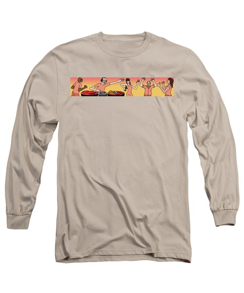 People Dancing At A Bbq Where The Grills Resembe Long Sleeve T-Shirt