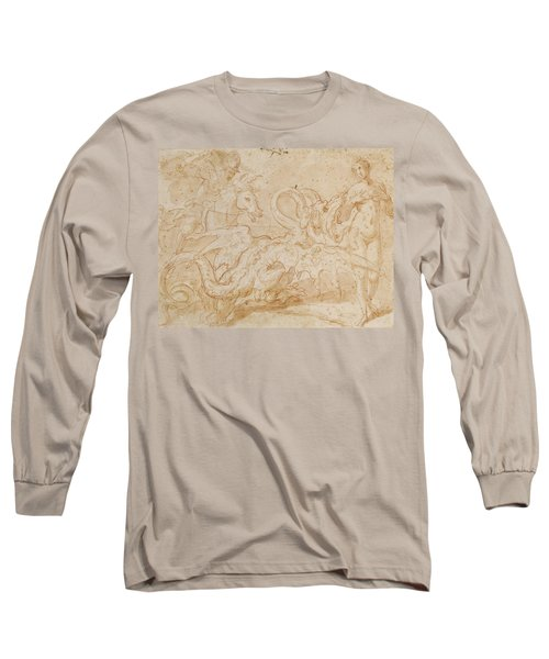 Perseus Rescuing Andromeda Red Chalk On Paper Long Sleeve T-Shirt