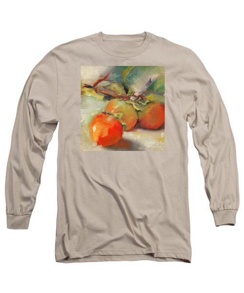 Long Sleeve T-Shirt featuring the painting Persimmons by Michelle Abrams