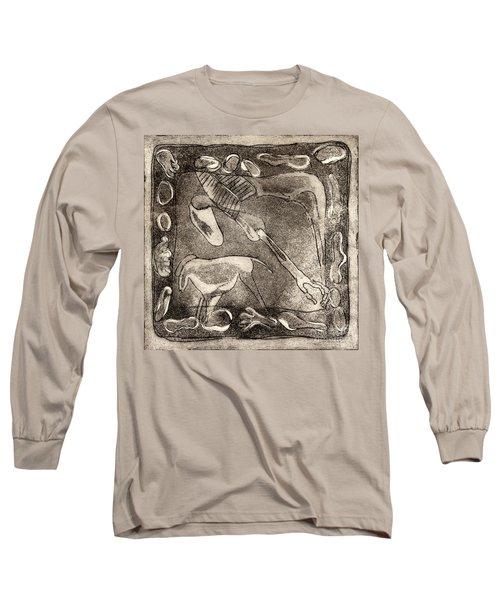 Petroglyph - Horse Takhi And Stones - Prehistoric Art - Cave Art - Rock Art - Cave Painters Long Sleeve T-Shirt