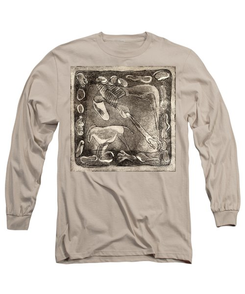 Petroglyph - Horse Takhi And Stones - Prehistoric Art - Cave Art - Rock Art - Cave Painters Long Sleeve T-Shirt
