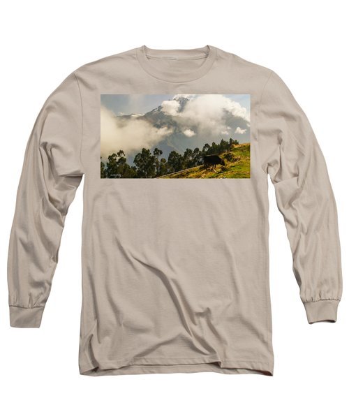 Peru Mountains With Cow Long Sleeve T-Shirt